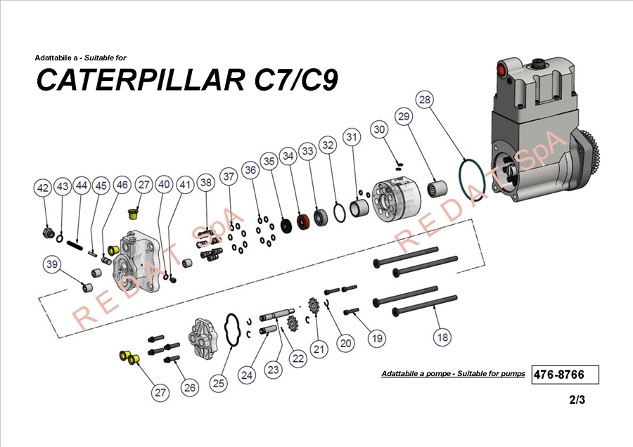 CATERPILLAR C7 / C9 PUMP SIDE 2